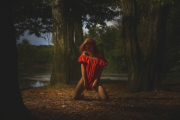 Digital Nomad - Royalty Free Image - Woman in red